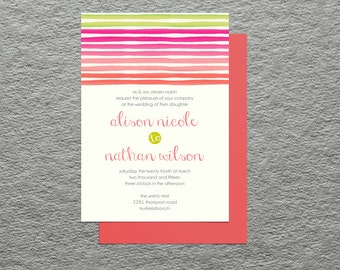Coral Chartreuse Lime Green Watercolor Stripes   Printable Wedding Invitation   Bridal Shower Baby Shower   DIY Digital Paper Goods