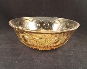 Vintage Amber Glass Serving Bowl