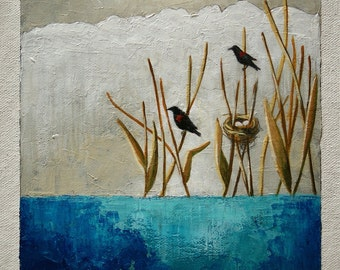 Bird painting, red-winged blackbird painting, pond and reeds, original art, acrylic paint, 6 x 6 inches painting with 11 x 14 inches mat
