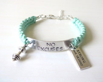 No Excuses Strong Not Skinny Barbell Workout Weightlifter Personal Trainer Charm Bracelet You Choose Your Cord Color(s)