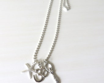 Yoga Silver Goddess Om/Ohm Charm Necklace With Starfish Charm YOU Choose Necklace Length