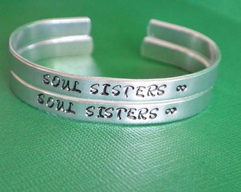 """Set of 2 Soul Sisters with Inifinity Hand Stamped Aluminum Cuff Skinny Bangle Best Friends Friendship Personalized Gift Custom - 1/4"""" Wide"""