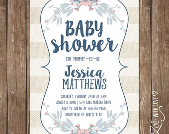 Boho Baby Shower Invitation Neutral Modern Shabby Chic DiY Printable