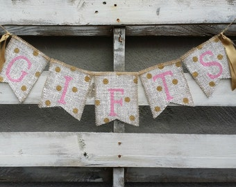 Pink and Gold Gifts Burlap Banner with Polka Dots, Gifts Sign, Pink and Gold Party Decor, Gift Table Banner, Shower Decor