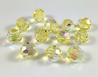 24pcs 6mm JONQUIL AB 5000 Swarovski Crystal Faceted Round Beads