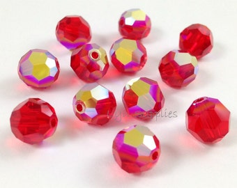 12pcs 8mm LIGHT SIAM AB 5000 Swarovski Crystal Faceted Round Beads