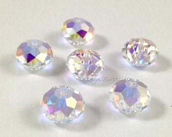 5040 CRYSTAL AB 8mm Swarovski Crystal Donut Rondelle Spacers 6 pieces