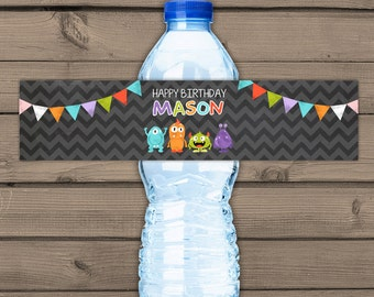 Monster Water Bottle Labels Monster birthday Monster theme Bottle Label birthday Monster decor Chalkboard personalized Digital Printable
