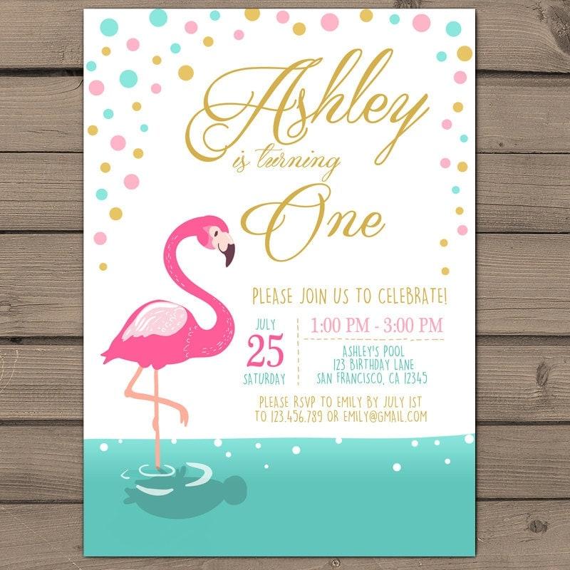 Flamingo party invitation Flamingo birthday invitation – Flamingo Birthday Invitations