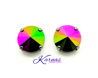 SALE 20% JAIS SCARABE Ultra Vintage 12mm Stud Earrings Made With Swarovski Elements *Pick Your Finish *Karnas Design Studio *Free Shipping*