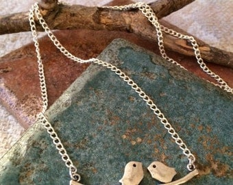 Antique Silver Love Birds on a Branch Pendant Necklace