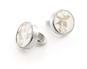 Gold cufflinks, broken china cuff links, woman cuff links in white and gold