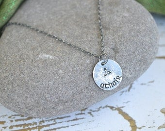 Father (in Gaelic)- Athair Necklace in Oxidized Sterling silver- One Necklace