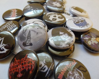 "Mix and match any 9 1"" pins metal rap soul jazz Stooges Albert Ayler Carcass Celtic Frost Fela Kuti MC5 Nick Drake Faust pinback button"