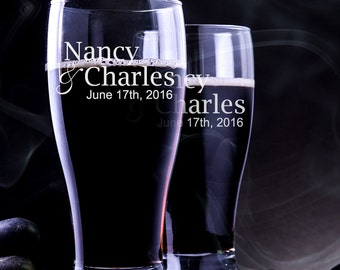 2 Custom Beer Glass - Personalized Engraved Beer Glass - Pilsner Wedding Glass - Wedding Pilsner Glass - Custom Pilsner Glass - Beer Glass