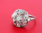 Platinum Diamond Ring with Filigree and Engraving