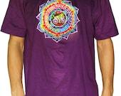 Fractal LSD mandala T-Shirt - rainbow Hofmann Bicycle Day mandala blacklight handmade embroidery no print goa t-shirt