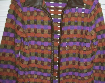 Vintage Sigrid Olsen Collection Brown Purple Orange Wool Leather Trim Woven Lattice Sweater Jacket XS Small Petite Unique Exciting
