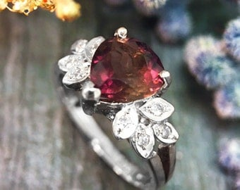 Pink Tourmaline and Diamond Engagement <Prong/Pave> Solid 14K White Gold (14KW) Colored Stone Wedding Ring *Fine Jewelry* (Free Shipping)