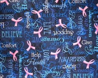 Pink ribbon believe cancer awareness dog bandana slides over the collar