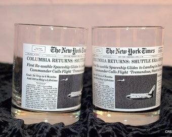 New York Times, Columbia Returns bar glasses, April 15,1981, Wendy's, vintage