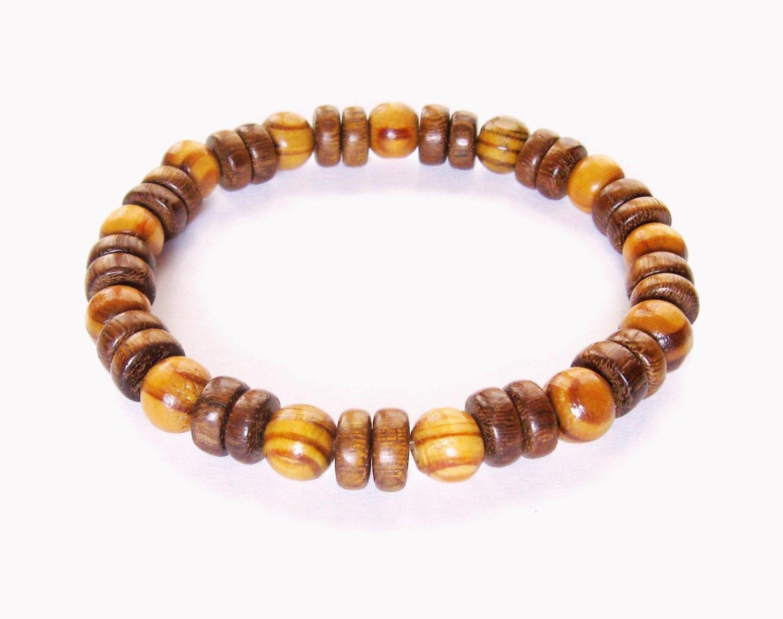 wood bead bracelet stretch bracelet brown by liminalhorizons