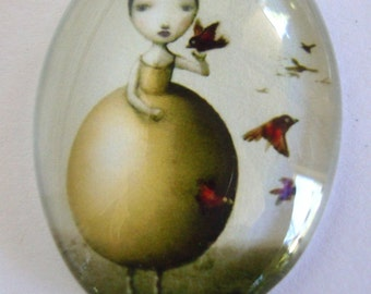 Girl Glass Cabochon, 18 x 24 mm