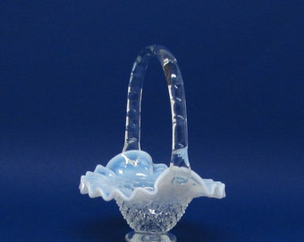 Fenton Opalescent Hobnail Glass Basket ~ French Opalescent Hobnail ~ Glass Basket ~ Fenton Art Glass 1939-1964 ~ Fenton Collectible