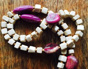 THE NEMBABA NECKLACE - Delicate.pretty.wood beads.bones.polished acrylic beads.shades of violet.Modern.handmade