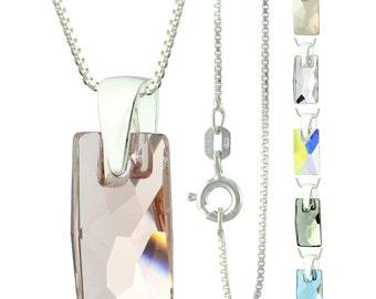 925 Sterling Silver Faceted Pendular Lochrose Swarovski Crystal Pendant Necklace