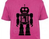 Children's unisex robot t-shirt screen-printed by hand | Little Squish
