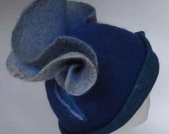 Blue waves, felted wool hat