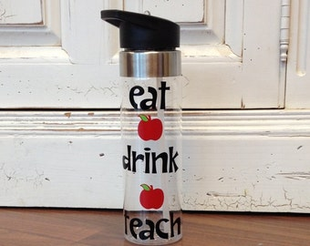 Teacher Water Bottle ~ Personalized Water Bottle ~ Teacher Appreciation ~ Personalized Teacher Water Bottle