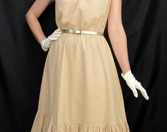 Vintage 1980's 80's Summer Tan Beige Sand Day Dress Ruffle Size uk 12