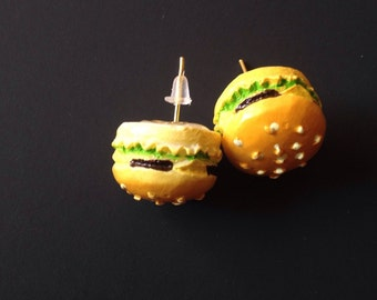 SALE Cheeseburger Earrings Miniature Food Cheeseburger Jewelry