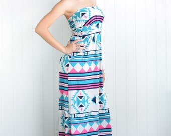 Mint Aztec Strapless Maxi Dress