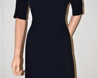 Vintage 1950s JOHN NORMAN Black Fitted Evening Party Dress sz X-Small XS Small S