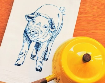 Teal Pig Tea Towel - Screen Printed Flour Sack Towel - Eco Friendly - Our Pig Kitchen Towel Makes a Perfect Gift