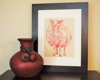 art for bedroom red wall art print of a sheep print on fabric