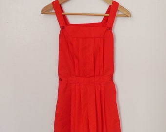 Vintage 60s Red Playsuit Shorts Romper XS