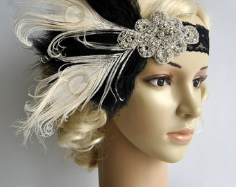 Flapper Lace Rhinestone Feather Headband, 1920's,Feather, Lace flapper costume, black, silver, Great Gatsby Headpiece Headband