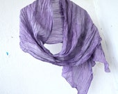 """Scarf silk hand painting lilac, hand painted scarf. Ready to Ship! size 18 """"to 70"""", 45cm to 180cm."""