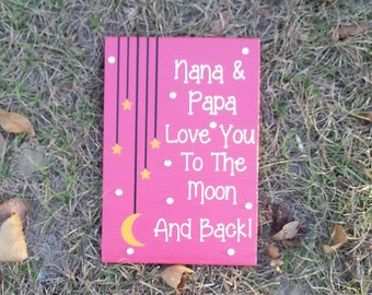 Love You To The Moon Wood Sign Home Decor Rhinestone Decor Handpainted
