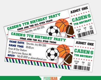 Sports Birthday Invitation - Sports Party Invitation - Sports Invitation - All Star Invitation - All Star Birthday Party (Instant Download)