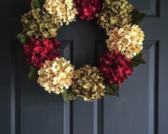 Beautiful Hydrangea Wreath | Wreaths | Door Wreath | Fall Decor | Outdoor Wreaths | Seasonal Wreaths | Red Door Wreath | Housewarming Gift