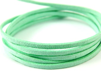 3mm Suede Leather Cord, 5mt 10mt 20mt 50mt Faux Suede Cord, Mint Green Suede Leather Cord, 3mm Flat Faux Leather, Suede Leather Cord