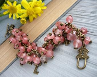 Womens bracelet gift jewelry quartz beaded bracelet gift for her stone jewelry quartz stone bracelet gift ideas womens gift quartz jewelry