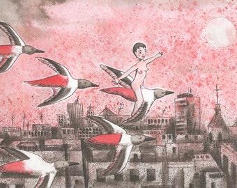 Original indian ink drawing_artwork_Migration by itzi hdo