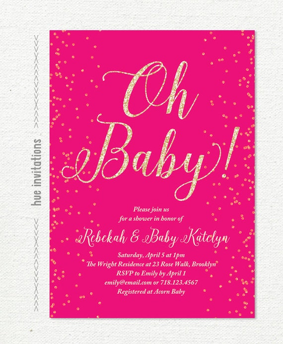 oh baby hot pink and gold glitter baby shower invitation, Baby shower invitations