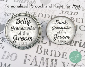 Personalized Brooch and Lapel pin set - Grandmother and Grandfather of the Groom - personalized with names and wedding date